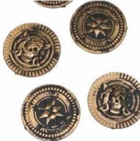144 monedas pirata plastico tesoro cofre halloween caribe