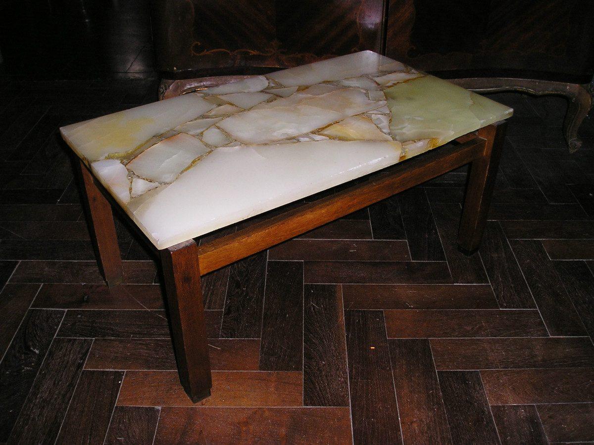 1458 mesa ratona tapa de marmol onix base madera 70 5x40 for Mesa centro marmol