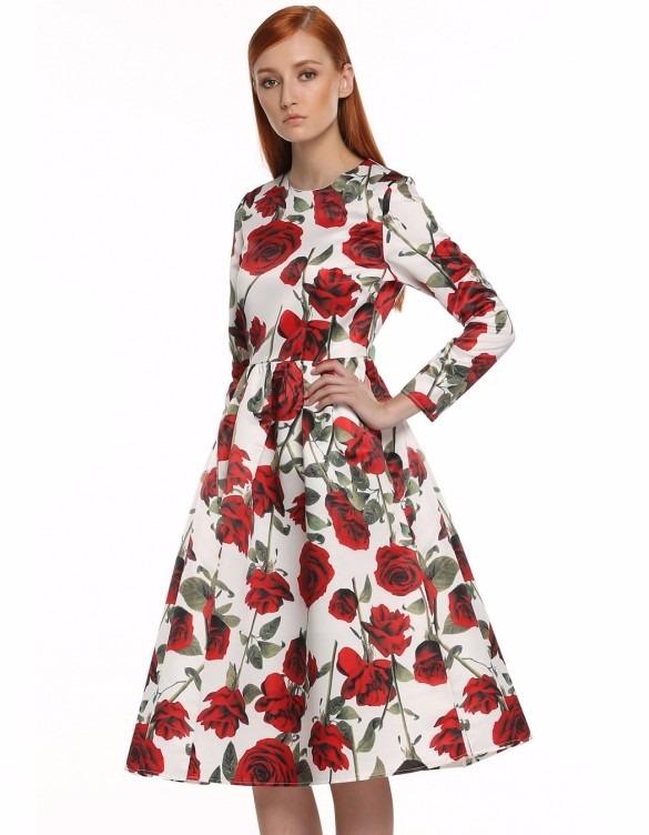 Unico 49 Estampado Vestido Larga 832 En Floral Manga 146 Corto wvT8aqYT