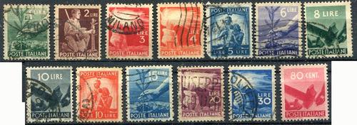 1460 italia comercio agricultura 13 sellos usados de los 50