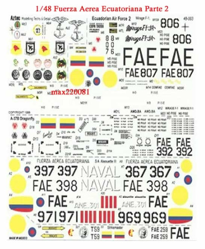 1/48 decal ecuador 2 stiker tanque mirage dragon mig kfir cd
