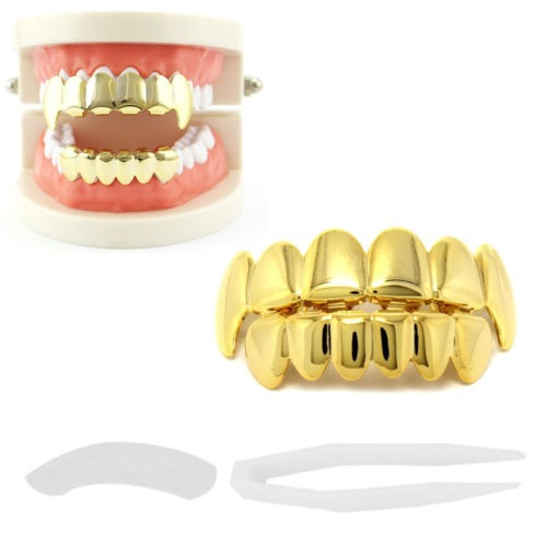 14k chapado en oro de latón hip hop dientes grillz tapas s
