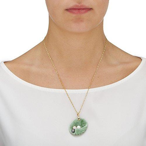 14k oro amarillo genuino de perlas y jade shell colgante del
