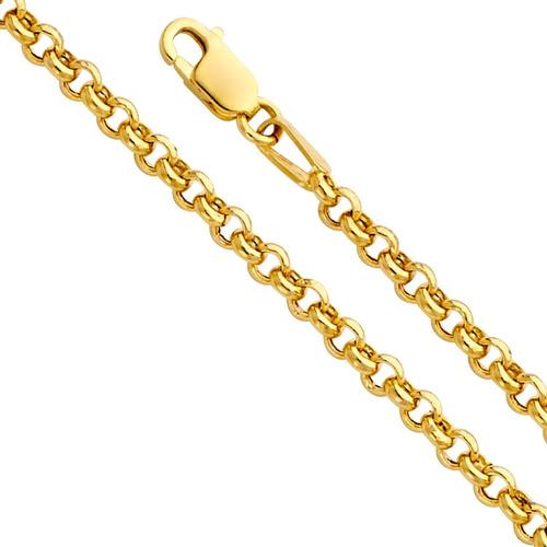 14k oro amarillo hueco 2.5mm fancy rolo collar de cadena con
