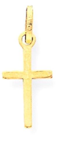 14k oro amarillo pequeña cruz colgante del encanto del colla