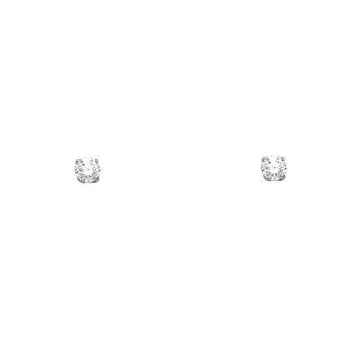 14k oro blanco 3mm ronda solitario cesta conjunto aretes co