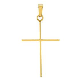 1165067aaabd 14k Oro Fino Simple Cruz Charm Colgante (26