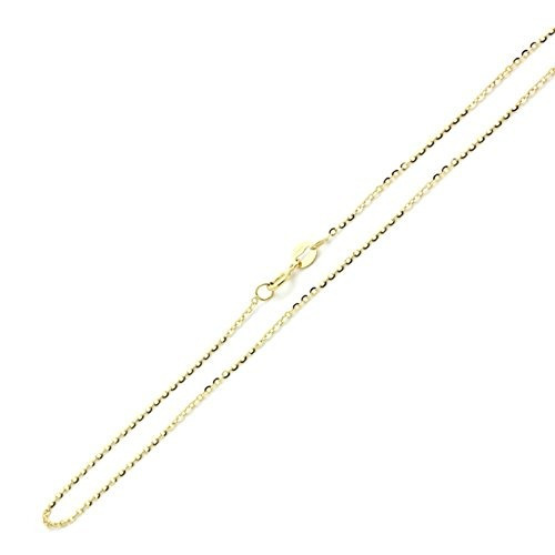 14k solid yellow gold 085mm diamond cut rolo link chain neck