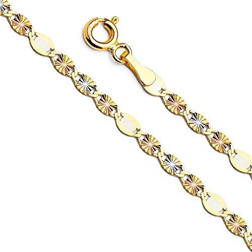 14k tri color oro sólido 3 mm plana valentino star corte de