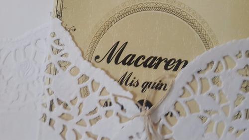 15 años casamiento boda tarjeta invitacion con blonda +sobre