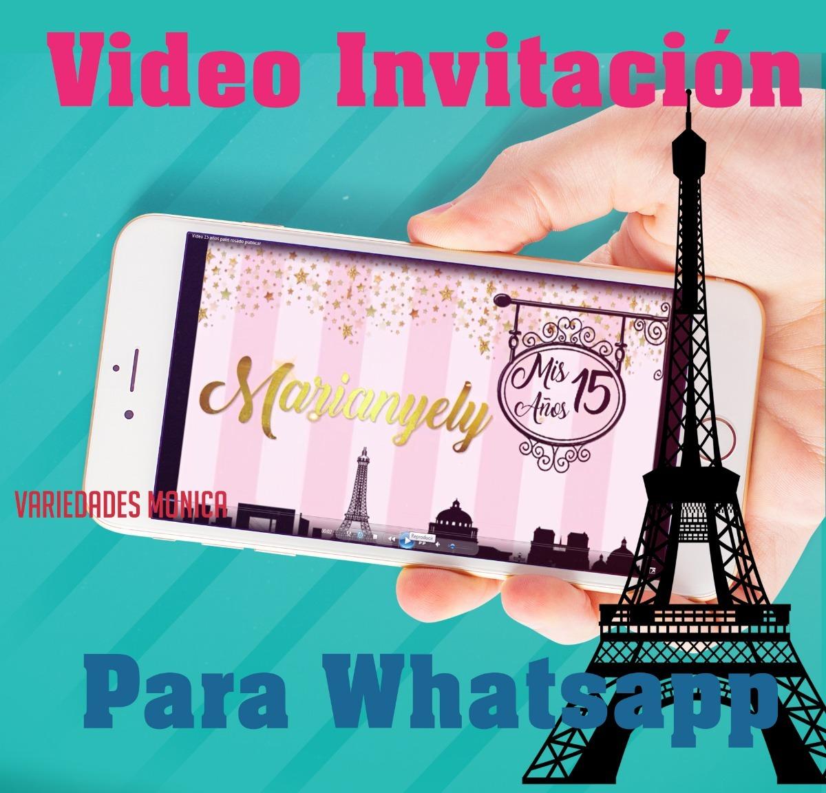 15 Años Paris Video Invitacion Tarjeta Personalizadas