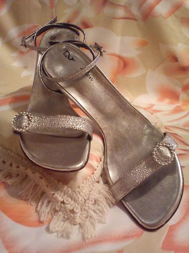 15 años sandalias rosa plata fiesta hermosa c/aplique  !!!