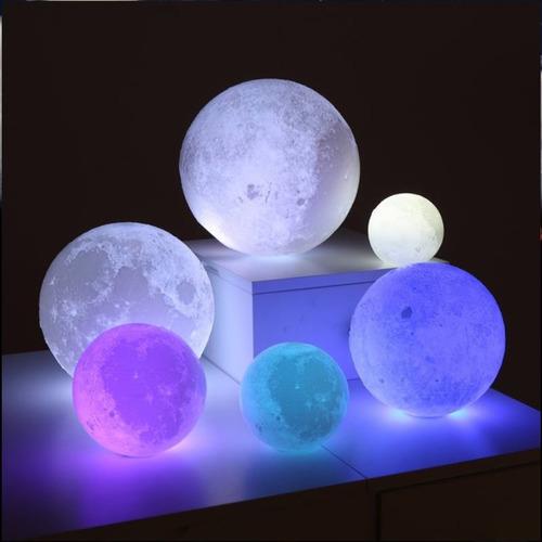 15 cm lampara luna 3d con 16 colores + control remoto