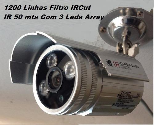 15 câmeras infra 2000l ir cut 50mts 3 leds array + fonte 15a