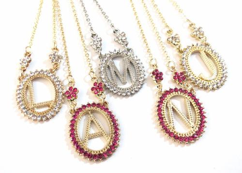 15 colares com iniciais de nomes folheado a ouro 18k - cada