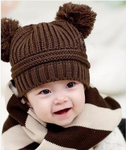 15 gorras  beanie tejidos para bebés y niños calientitos