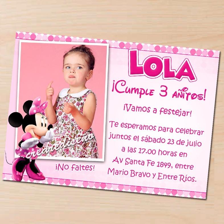15 Invitaciones De Cumpleaños Minnie Mouse Rosa Roja