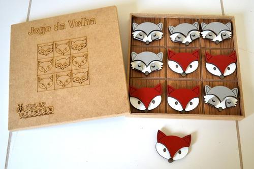 15 jogos da velha mdf animais do bosque - guaxinim e raposa