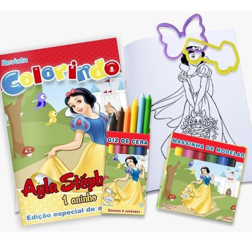 15 kit colorir mundo bita revista massinha 2 forminhas