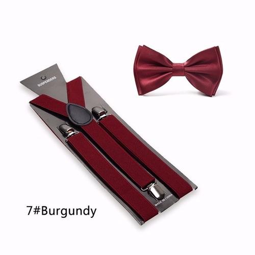 15 kit suspensório+gravata borboleta marsala adulto infantil