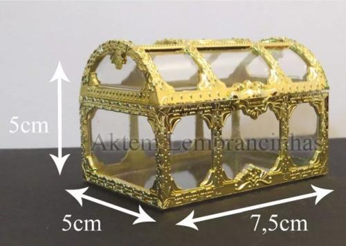15 mini baú dourado com acrílico transparente