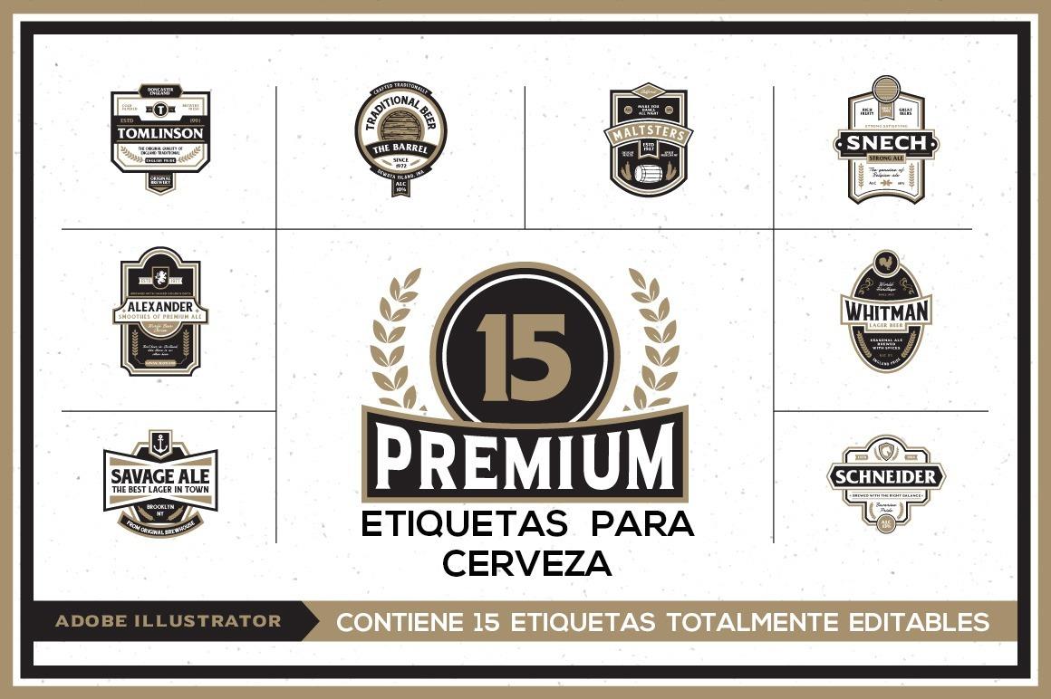 15 Plantillas Etiquetas Cerveza - Vectores - 100% Editables ...