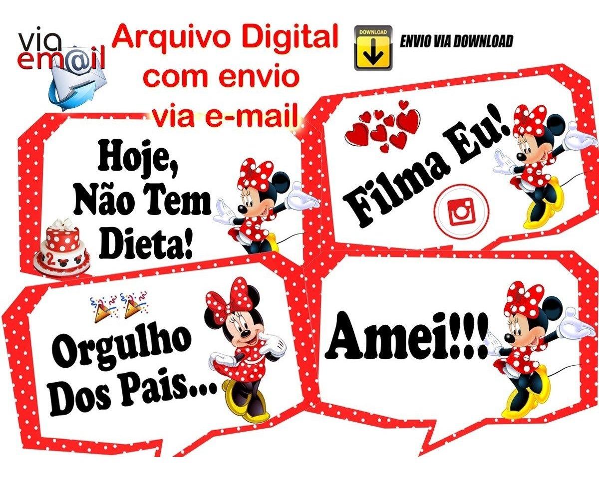 15 Plaquinhas Divertidas Minnie Vermelha Digital R 18 00 Em