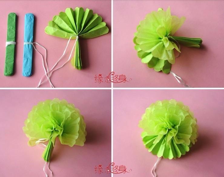 15 pompones decorativos de papel china varios colores - Como hacer colores ...