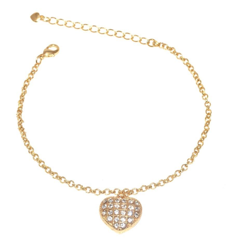 15 pulseiras coração grande cristal folheada a ouro linda! Carregando zoom. aebcfdeee3