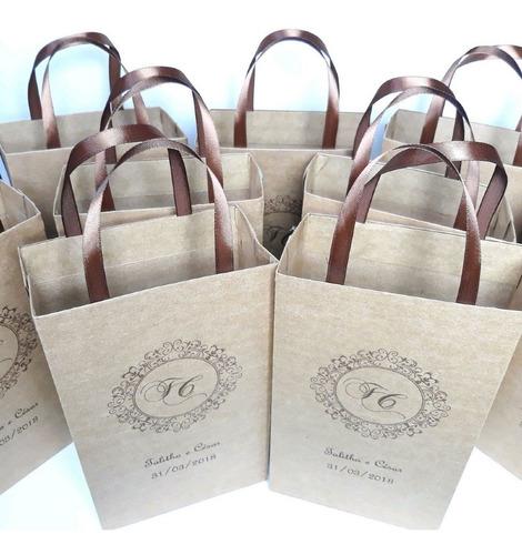 15  sacolas personalizadas em papel kraft