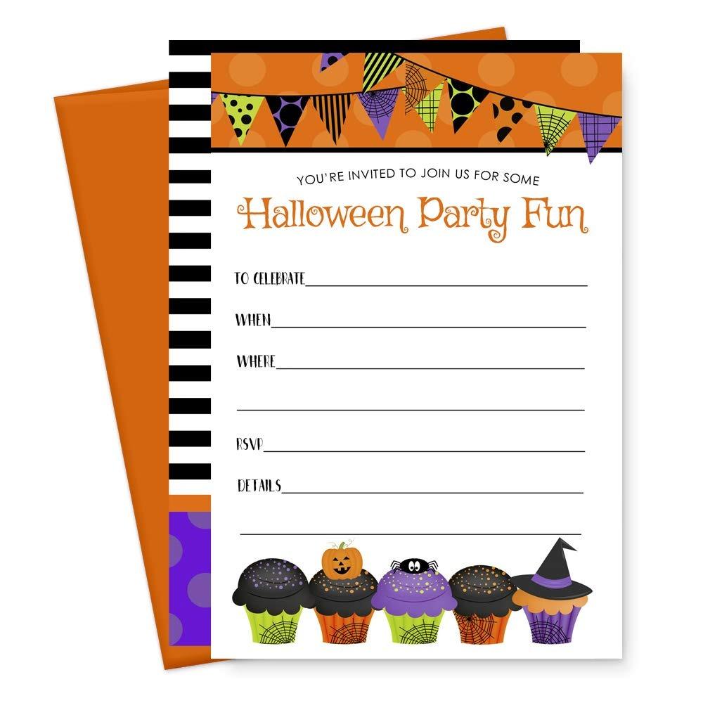 15 Tarjetas De Invitación Para Fiestas De Halloween Y Sobre