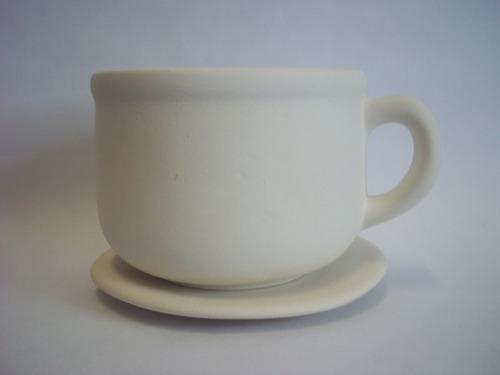 15 taza maceta con plato de ceramica para pintar