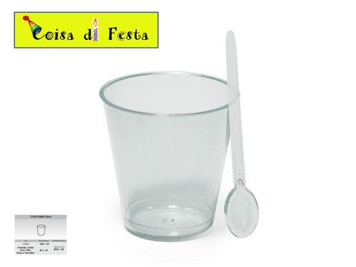 150 copinho p/doces acrilico 25ml + mini colher 150 unidades