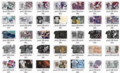 150 estampas camisetas  estilizadas , vetores, png ,