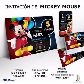 200 Impresiones En Opalina Invitaciones Cumpleaños Mickey