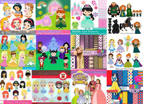 150 kits scrapbook digital tema princesas diversas