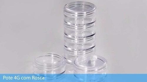 150 potinhos cristal acrilico 4 gr - torre - p/ make glitter