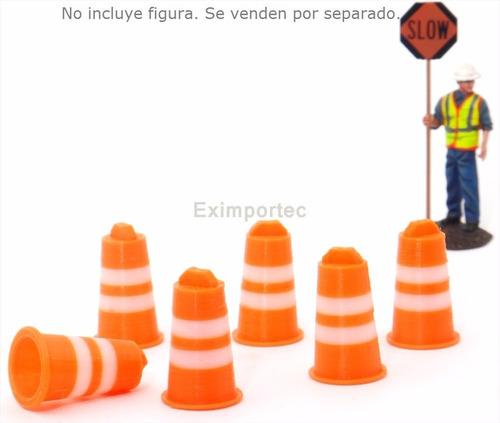 1:50 set tambos seguridad vial a escala p/ diorama maqueta