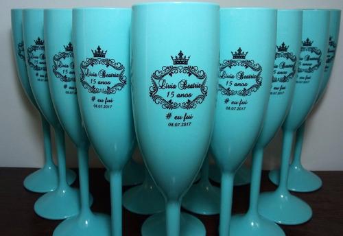 150 taças de acrílico personalizadas azul tiffany debutantes
