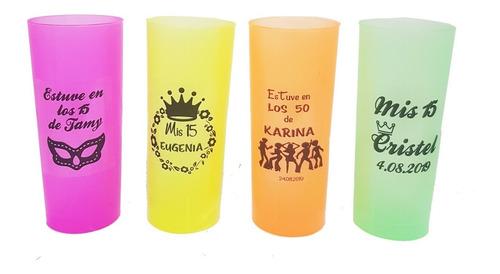 150 vasos fluo trago largo brillan con luz uv personalizados