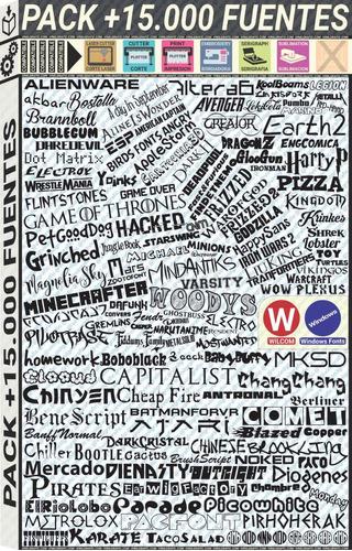 15000 fuentes texto para windows wilcom bordadoras