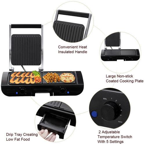 1500w eléctrico 2 en 1 multi grill plancha sandwichera con