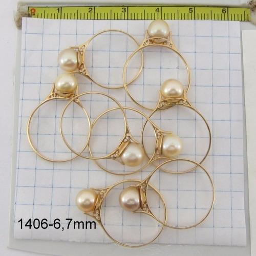 1517 anel de ouro 18k =1,5= gramas perola 6,5 a 7mm rpw