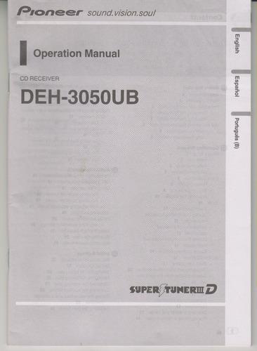 154 - pioneer manual de operação cd deh-3050ub r$ 25,00