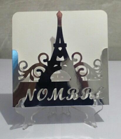15x15 cm - 25 sobres invitación torre eifel con nombre
