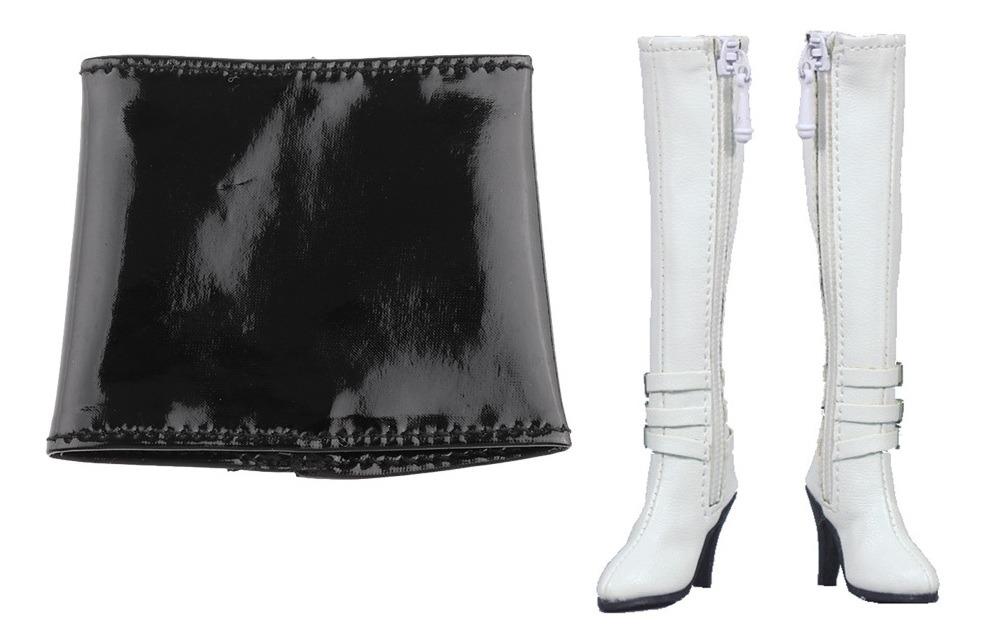 precio limitado aliexpress en venta 1/6 Botas Femeninas De Tacón Alto Mini Falda De Cuero Para