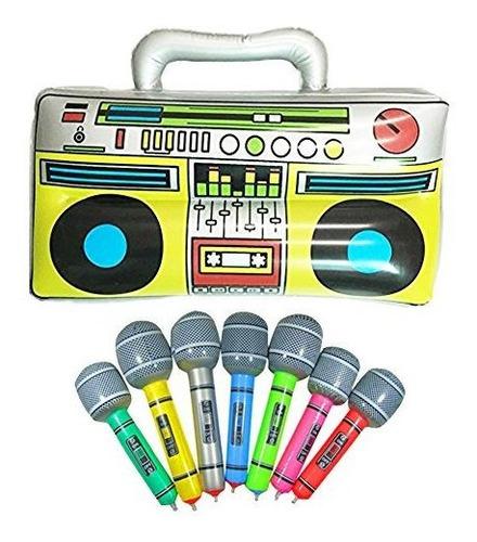 16 fiesta boom inflable pvc radio mas 2 microfonos para acce