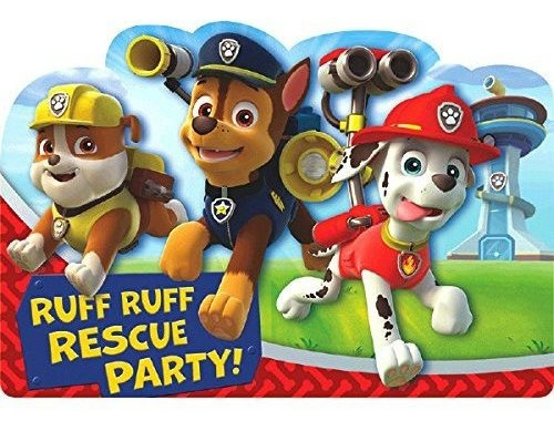 16 Paw Patrol Postcard Style Party Invitations with Marshall Chase and Rubble Plus Party Planning Checklist by Mikes Super Store
