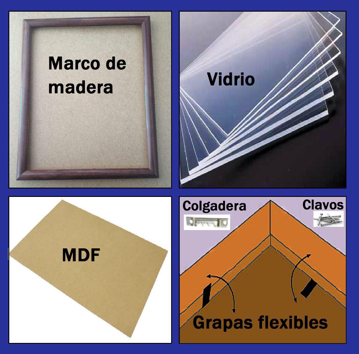 16 Marcos De Madera 10x15cm (marco,vidrio,mdf,caiman,grapas ...