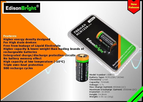 16 pack edisonbright ebr70 700mah tipo 16340 recargable cr12